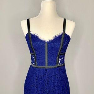 Blue lace satin strap pencil dress
